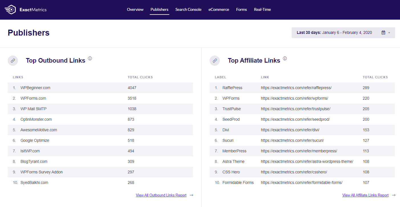 ExactMetrics affiliate links and ads tracking