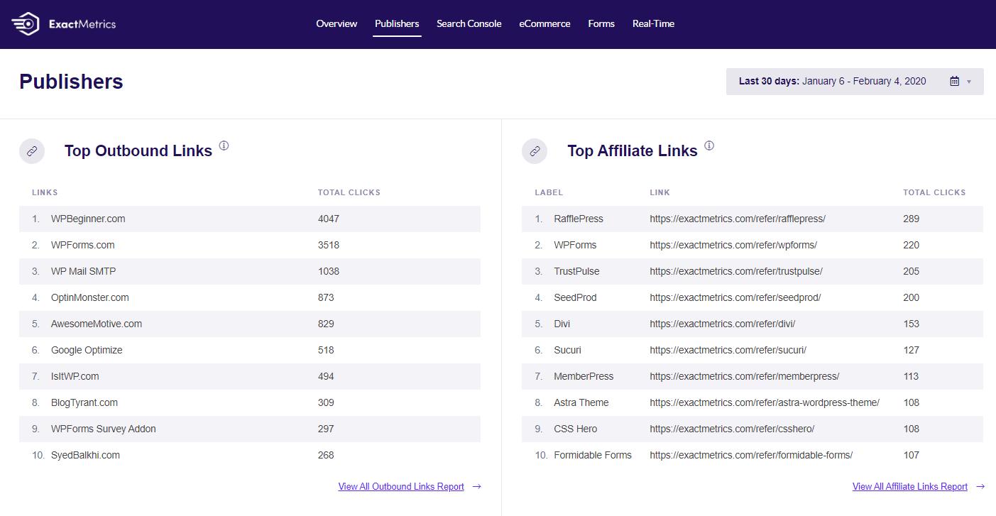 ExactMetrics affiliate links and ads tracking