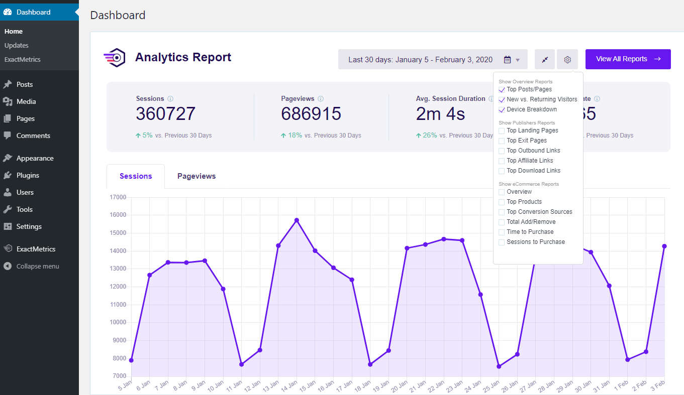 ExactMetrics WordPress analytics