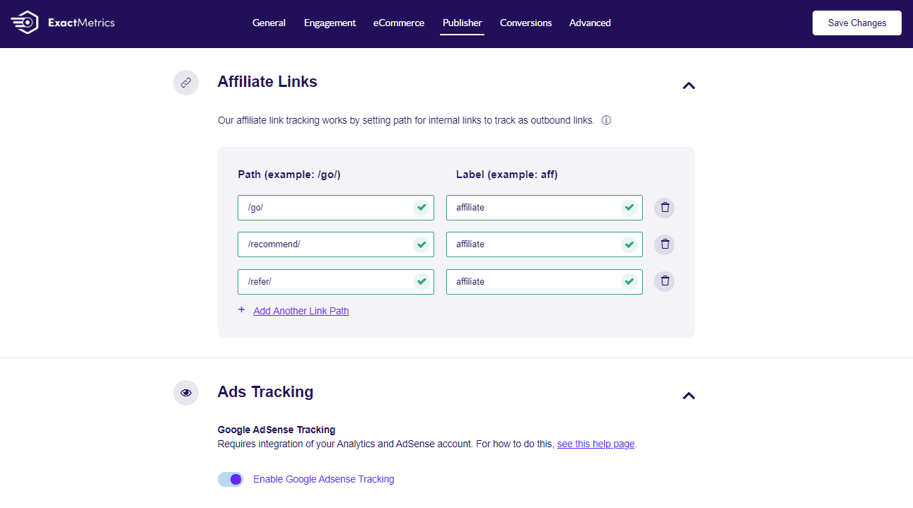 ExactMetrics enable affiliate link and ad tracking