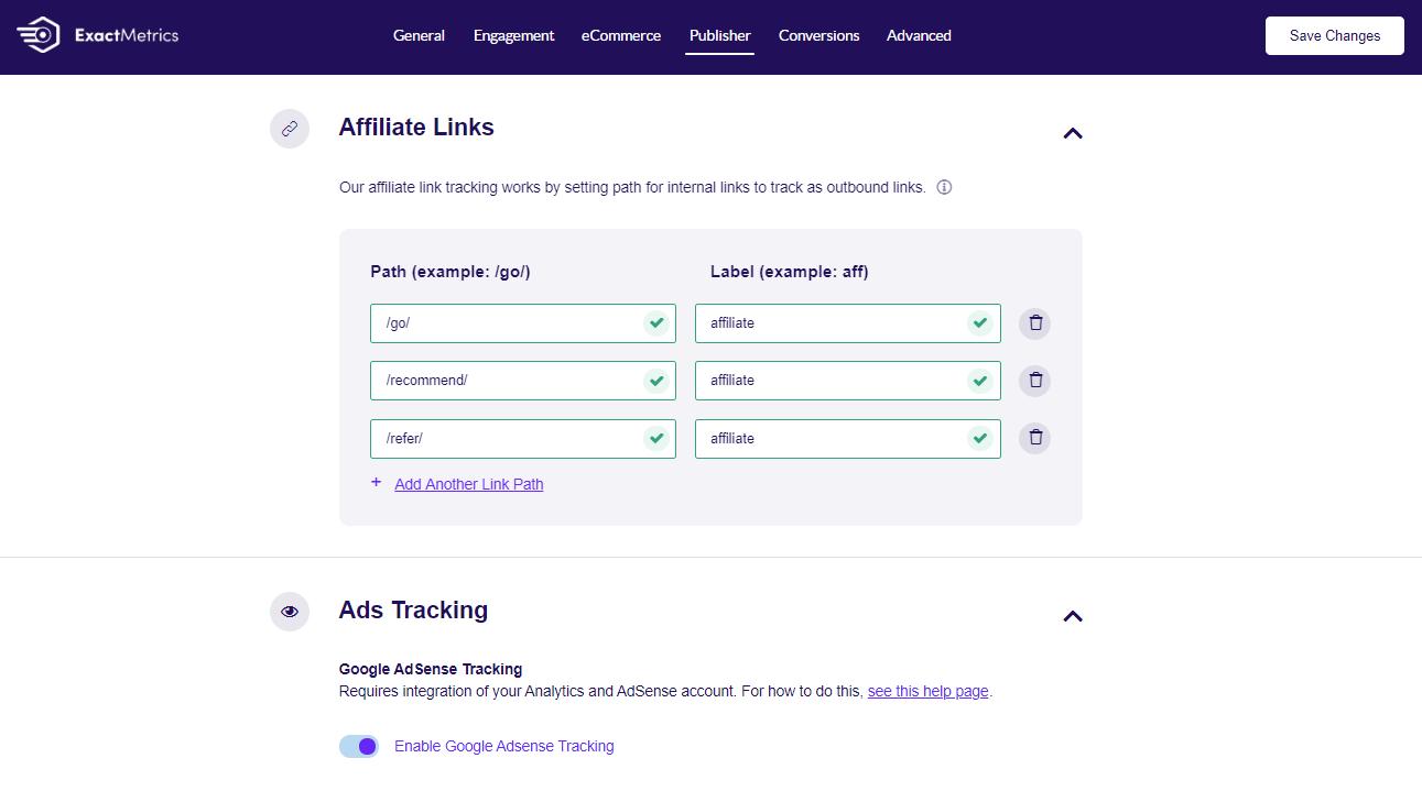 ExactMetrics enable affiliate link and ad tracking