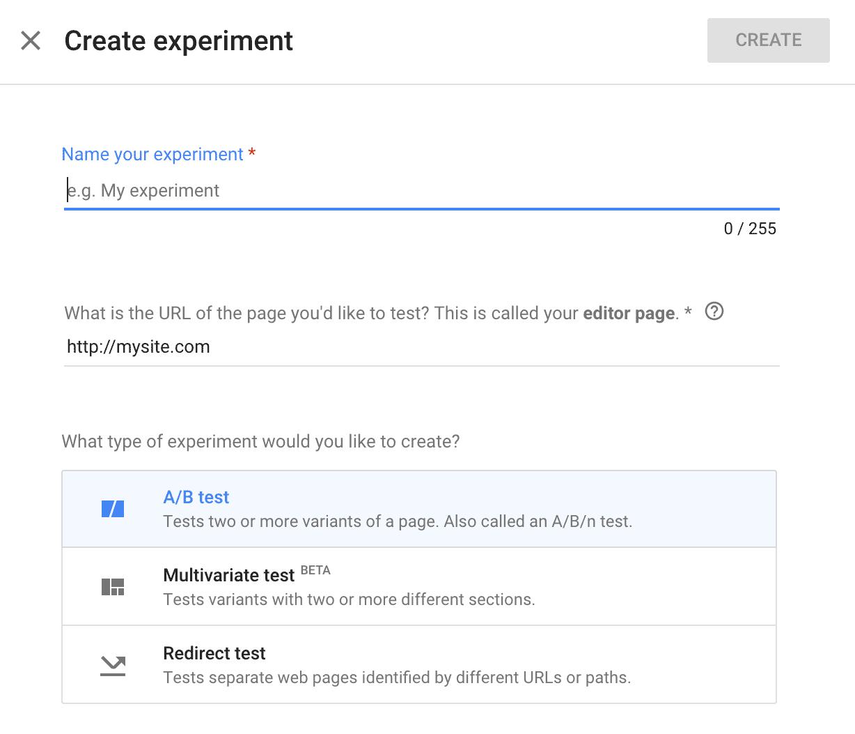 google-optimize-create-experiment