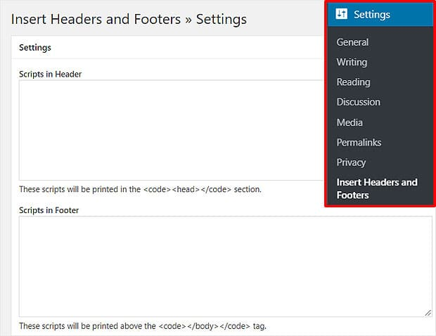 Insert Headers and Footers Settings