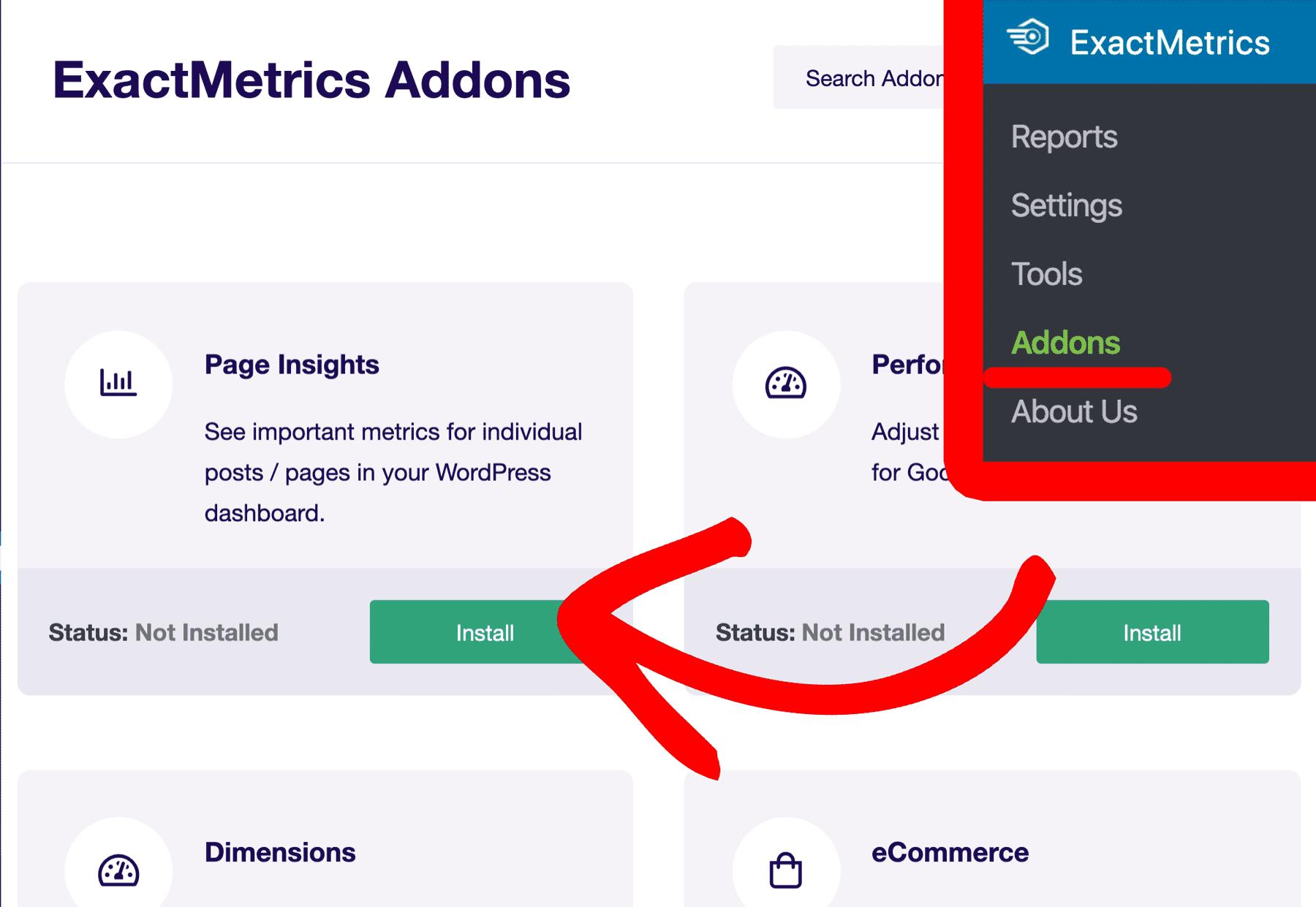page insights addon