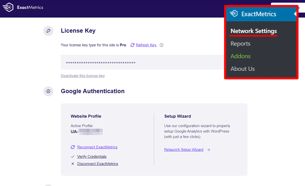 Multisite Network Settings panel, authenticated with GA