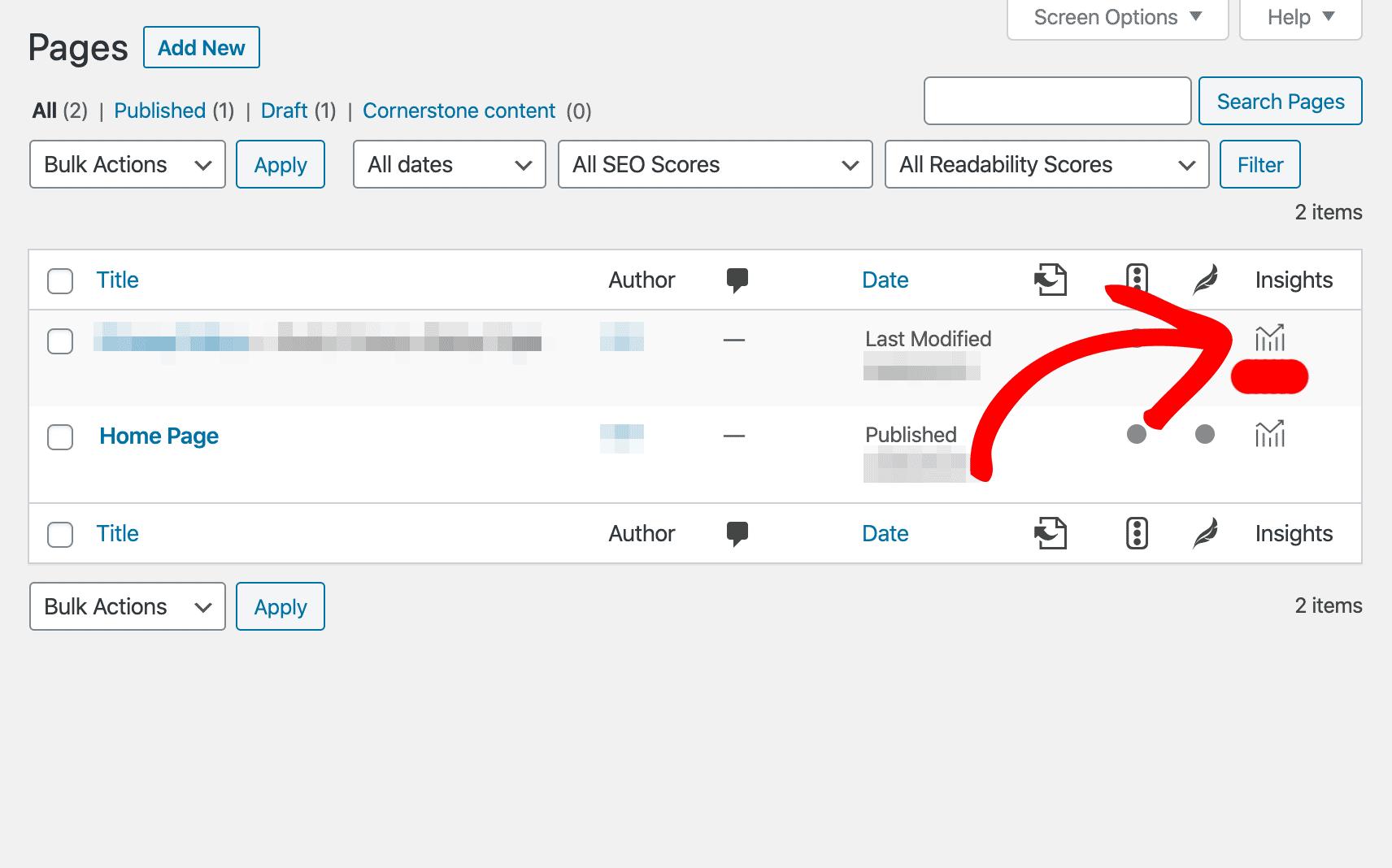 page insights wordpress dashboard