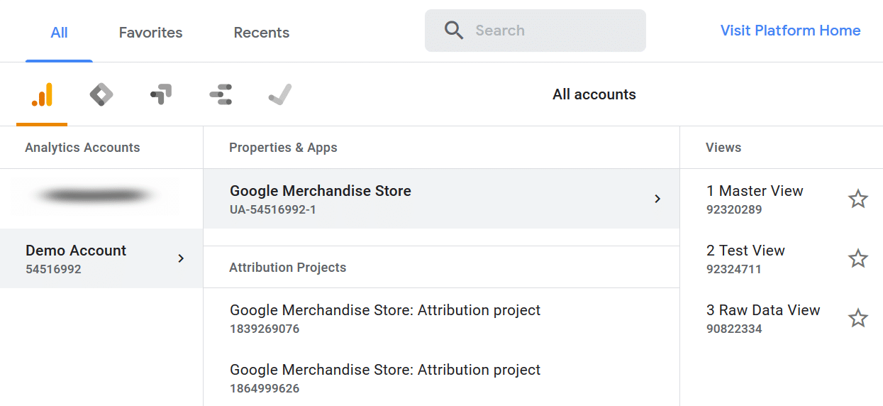 select-website-in-ga
