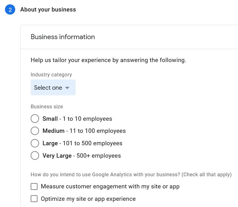 enter business information