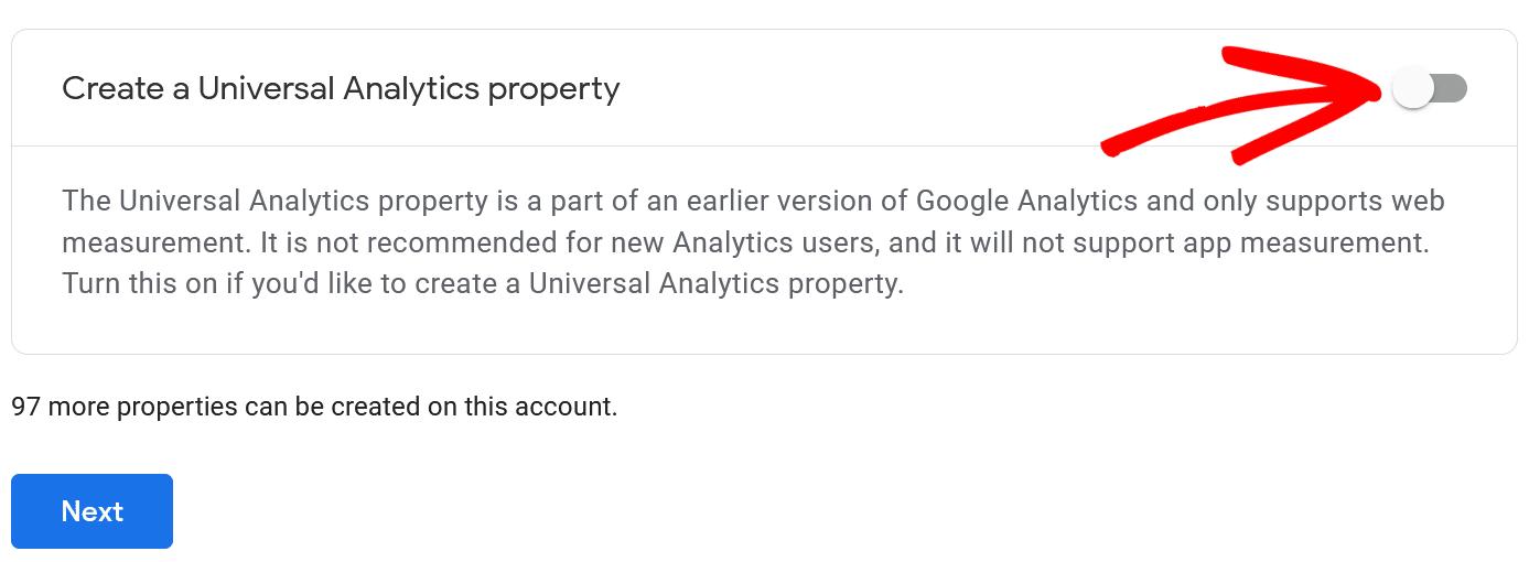 click create universal analytics property