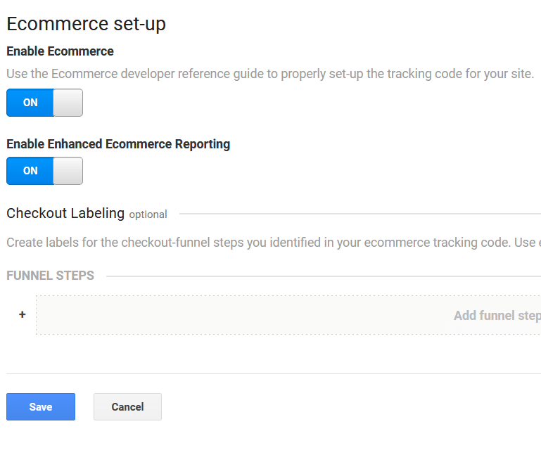enable enhanced ecommerce reporting