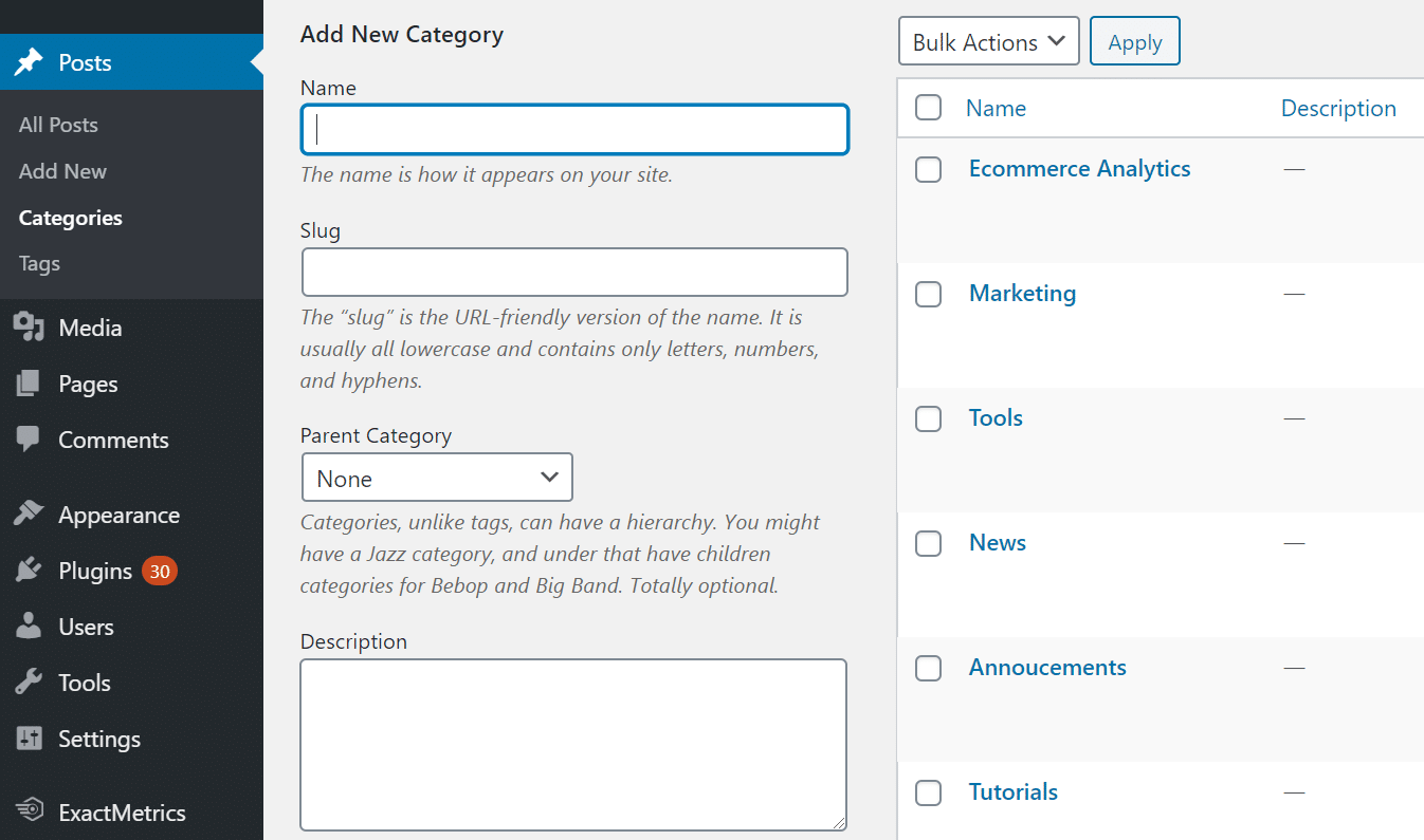 create wordpress categories