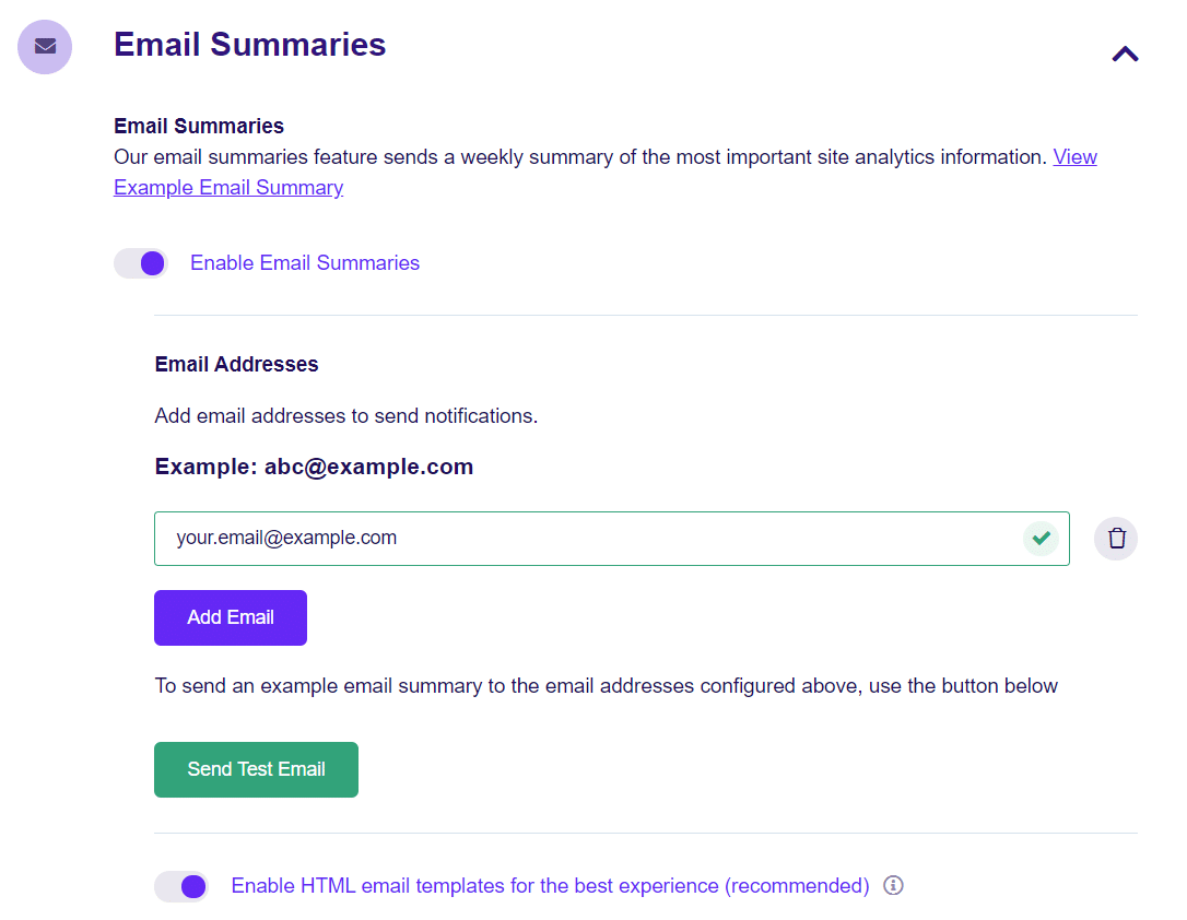 email summaries settings