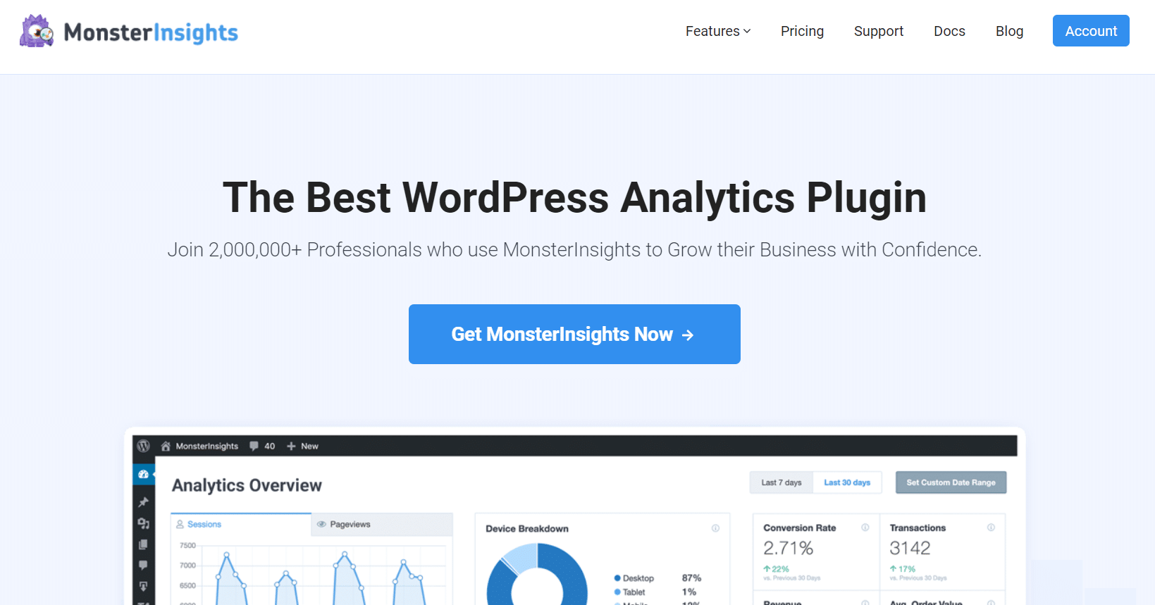 monsterinsights best wordpress plugin for google analytics