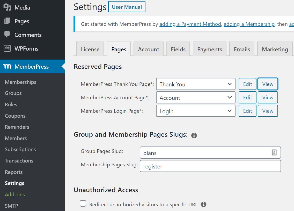 page settings memberpress