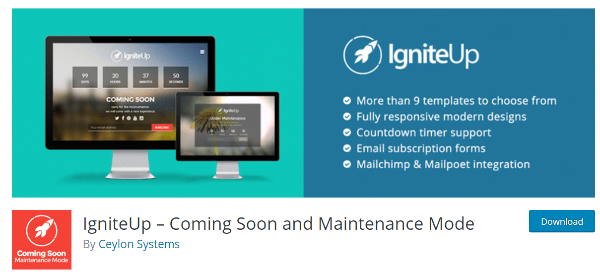 igniteup wordpress coming soon plugin
