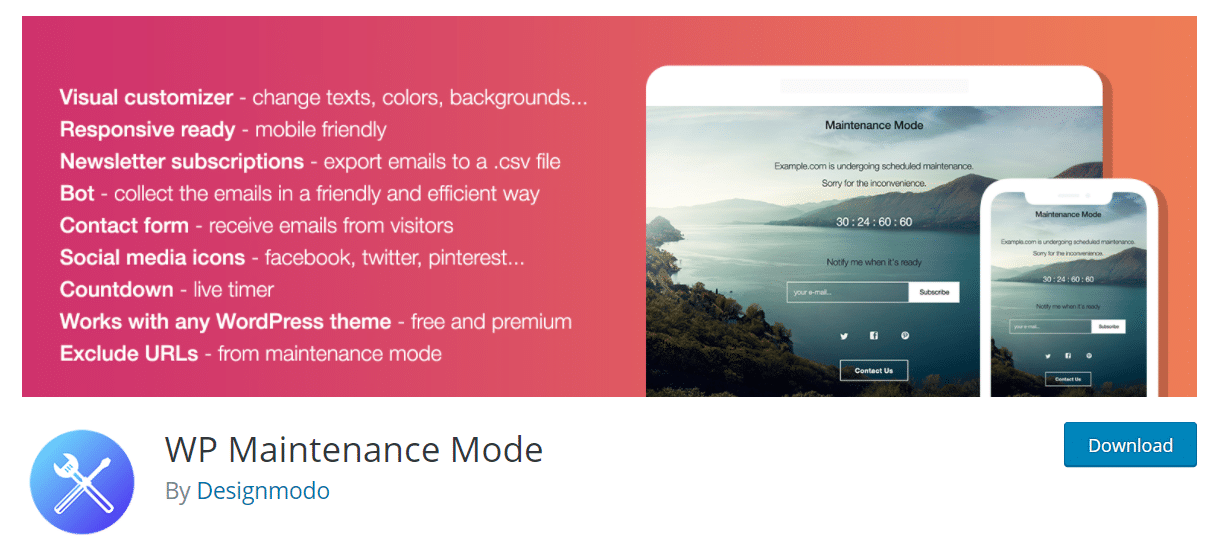 wp maintenance mode plugin wordpress