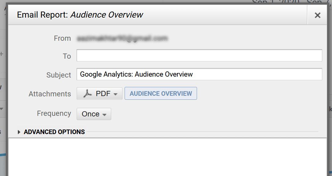 enter detaisl for share saved reports google analytics