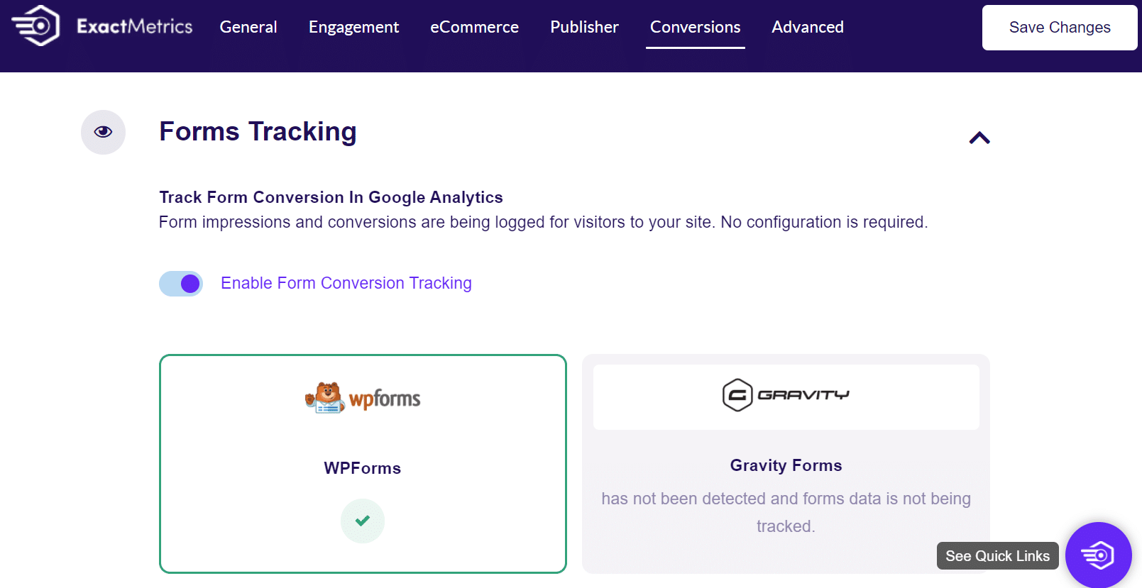 google analytics form tracking settings