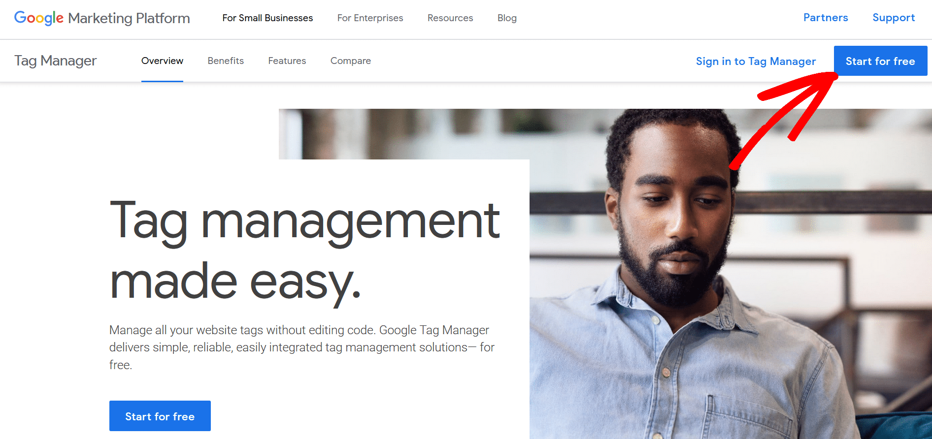 signup for google tag manager wordpress