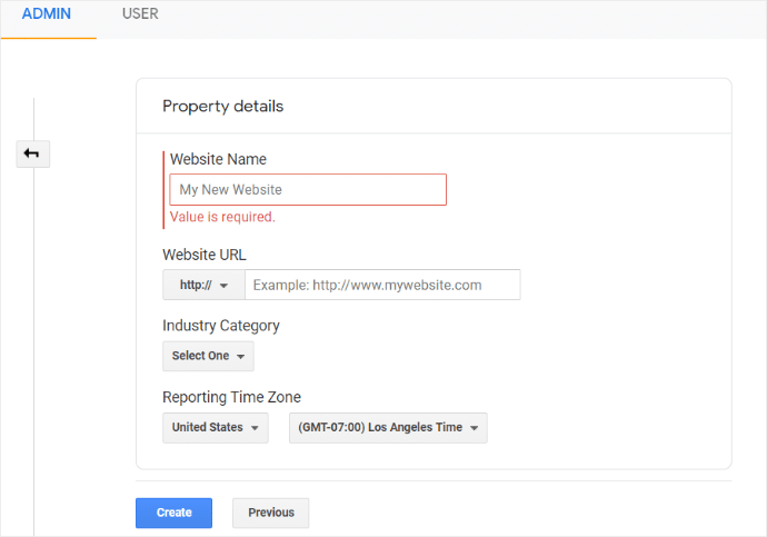 Google Analytics Property Details
