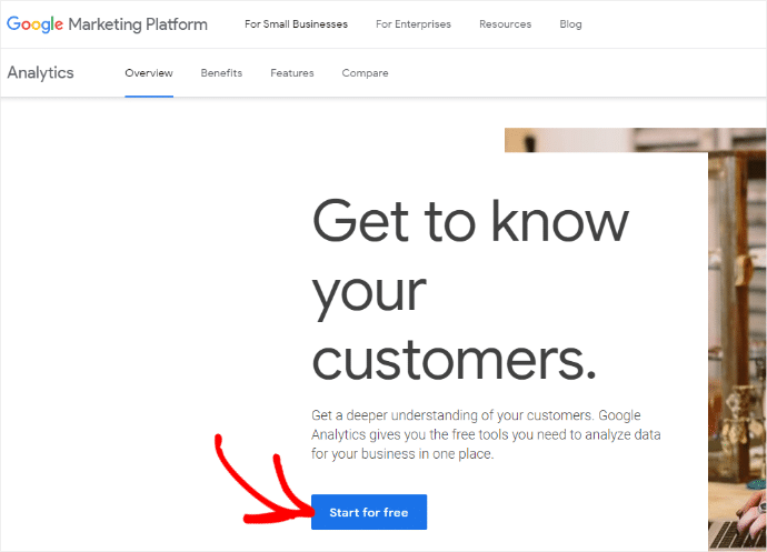 Google Analytics Sign Up Screen
