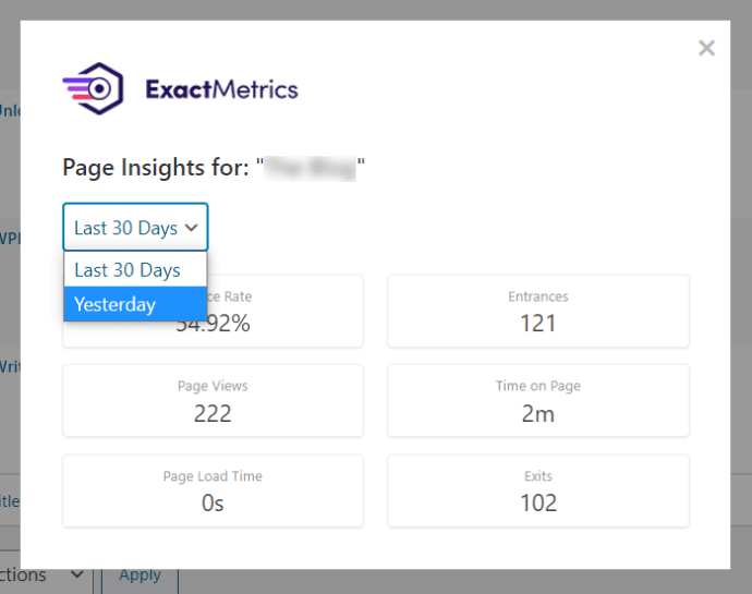 page insights exactmetrics dropdown