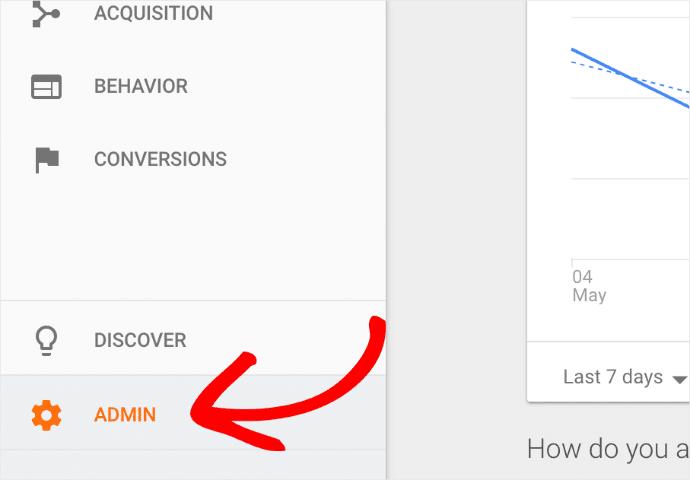 Select Admin in Google Analytics