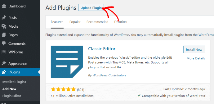 Upload Plugin Menu Arrow