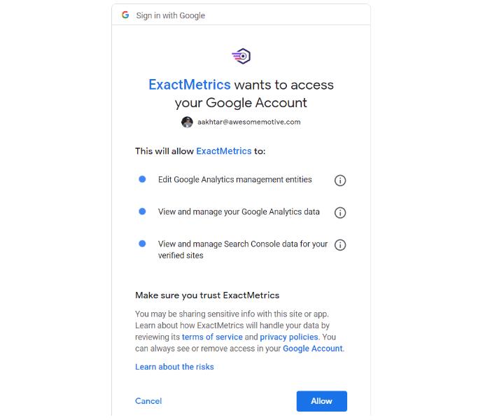 allow exactmetrics to connect to google account
