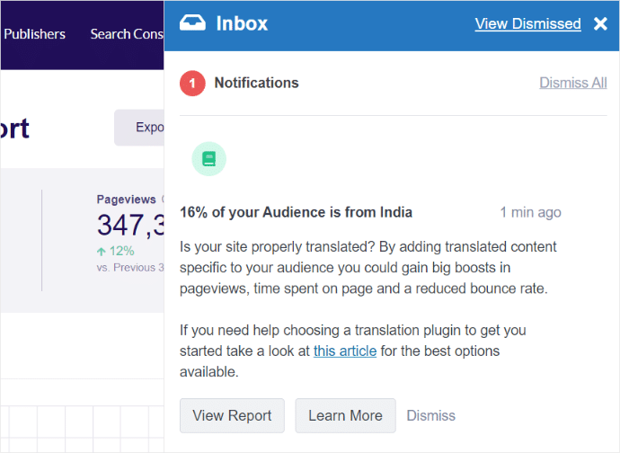 Contextual Insights Audience Notification