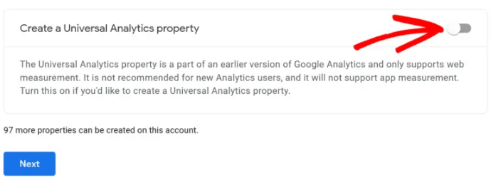 enable create a universal analytics property