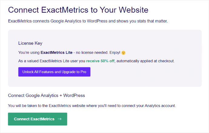 ExactMetrics Lite Free connect google analytics