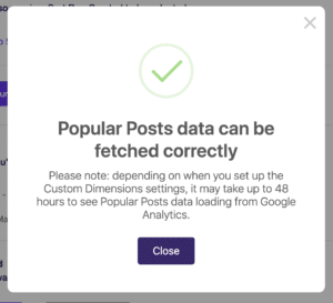 Popular Posts Configuration Check Confirmation