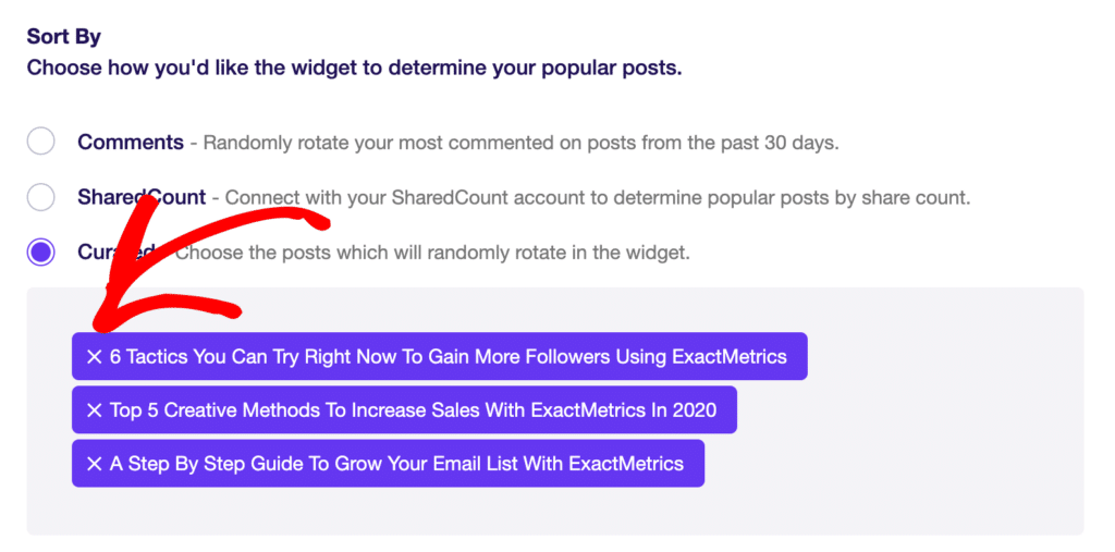 Popular Posts Sort By Option: Curated with Posts