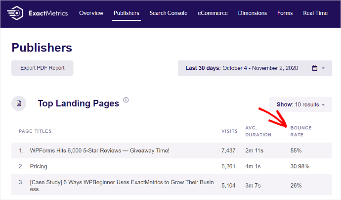 top-landing-pages-report-bounce-rate