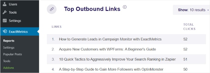 Top Outbound Links report