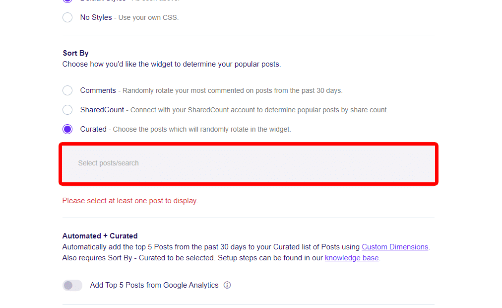Popular Posts Sort By Option: Curated Reminder