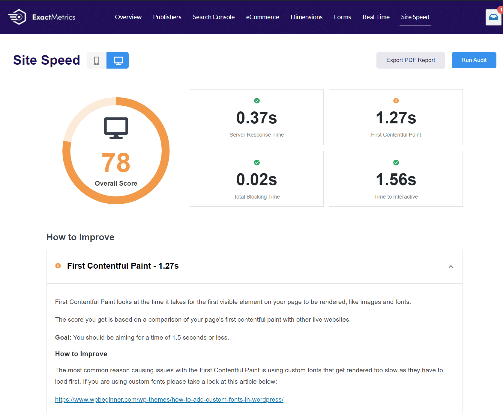 site speed report exactmetrics