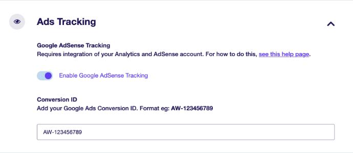 exactmetrics ads addon settings