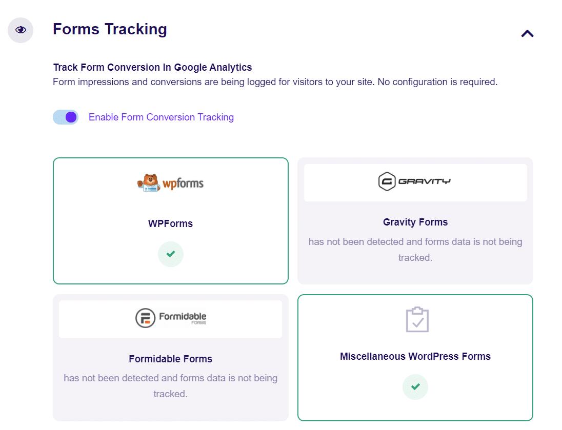 form tracking exactmetrics