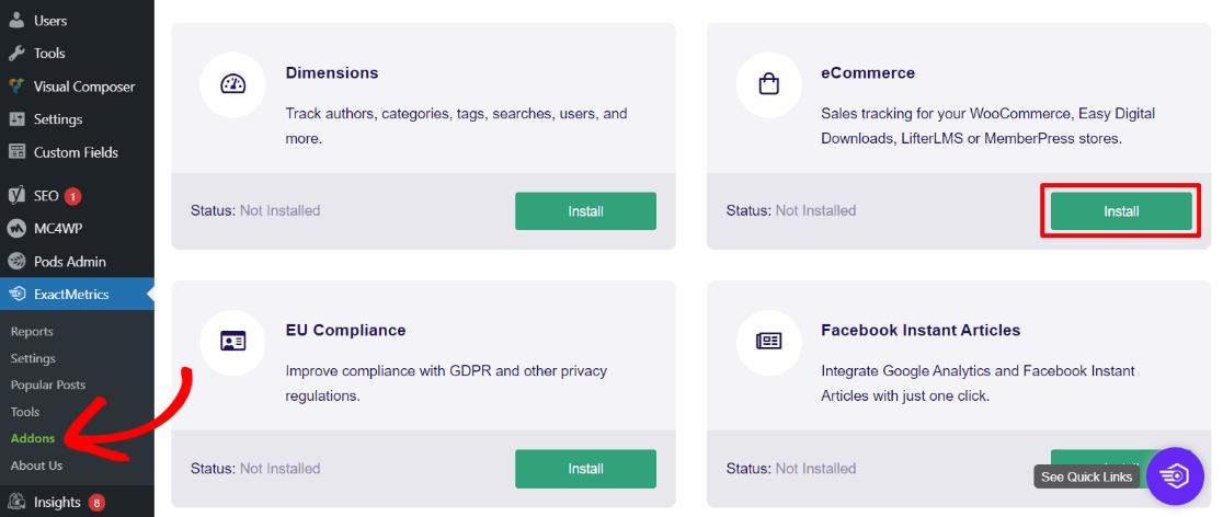ExactMetrics eCommerce Addon