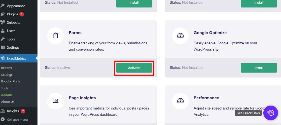 Activate the Forms Addon in ExactMetrics