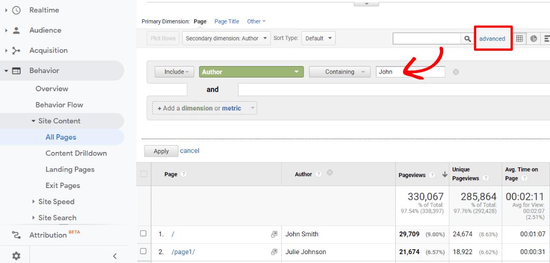 Author Filter Report in Google Analytics