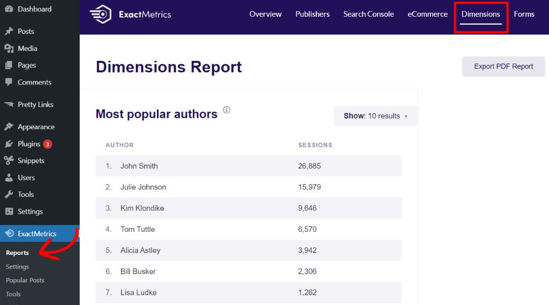 Most Popular Authors Report in ExactMetrics