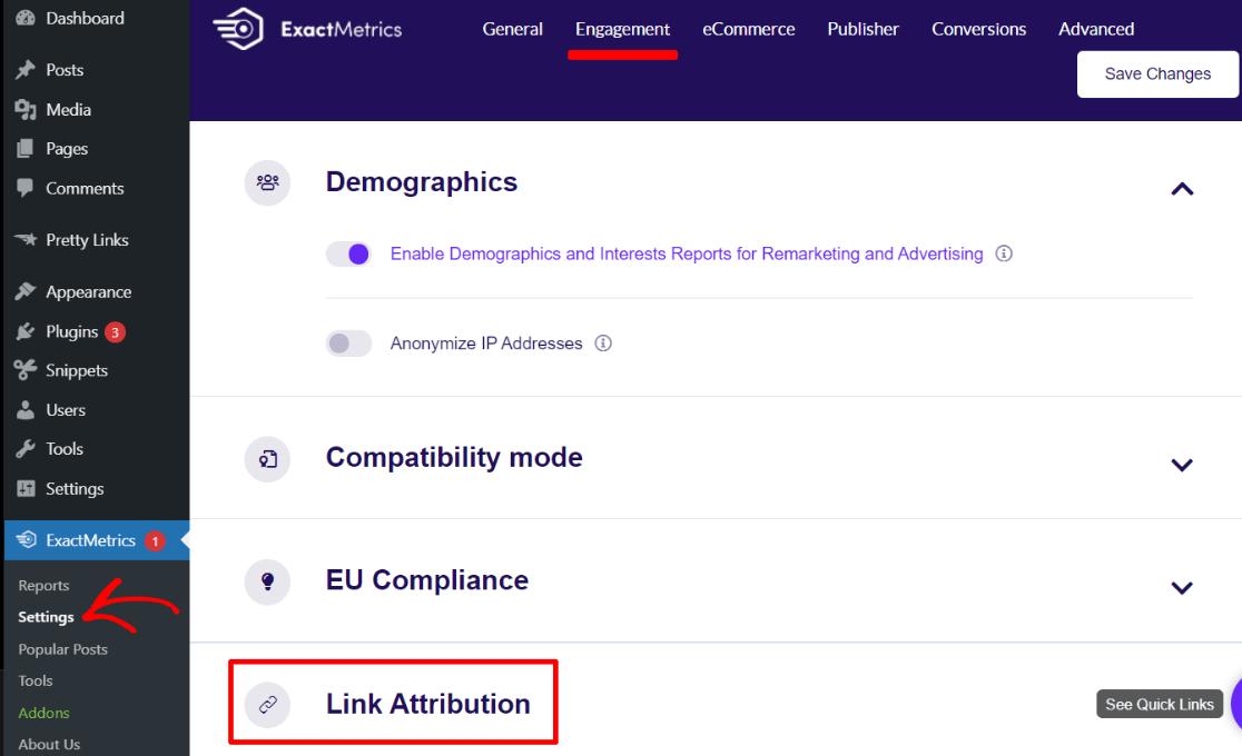 Link attribution settings in ExactMetrics