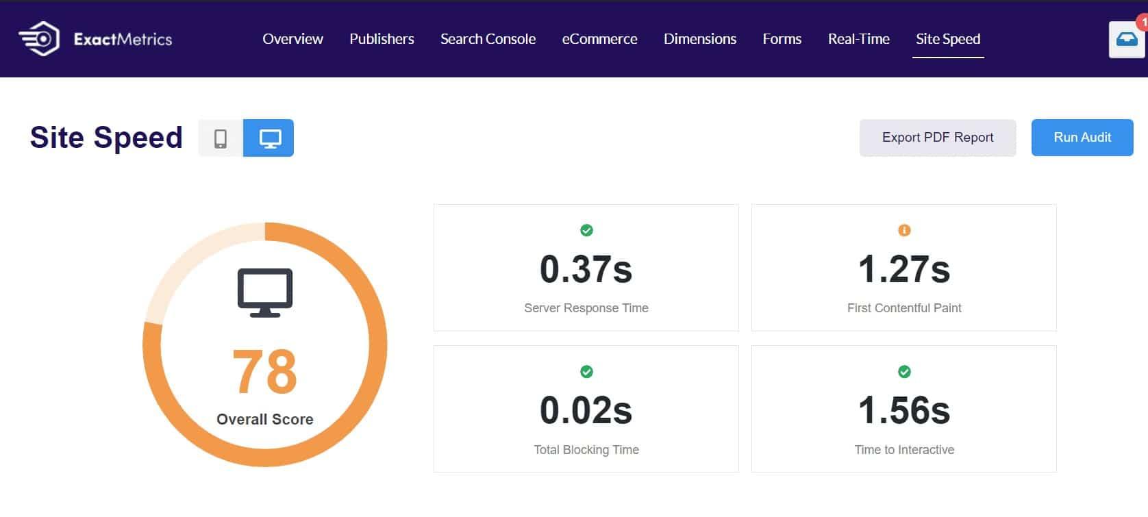 ExactMetrics Site Speed Report