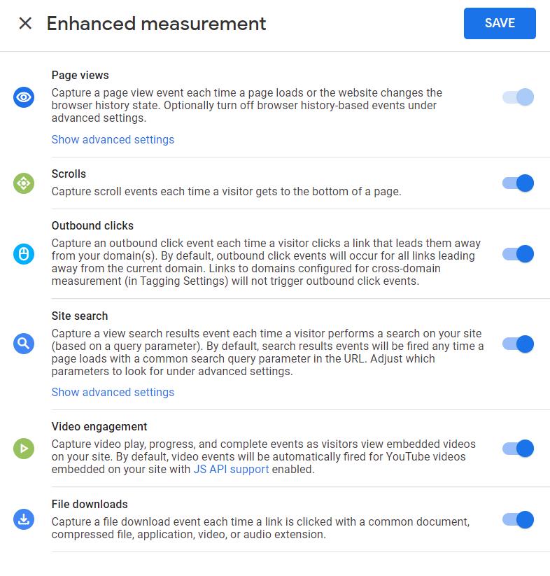 GA4 enhanced measurement settings