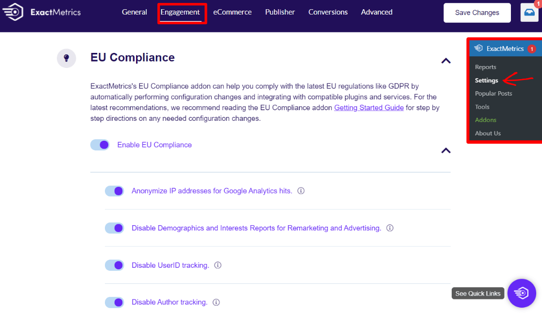 EU Compliance Addon Settings