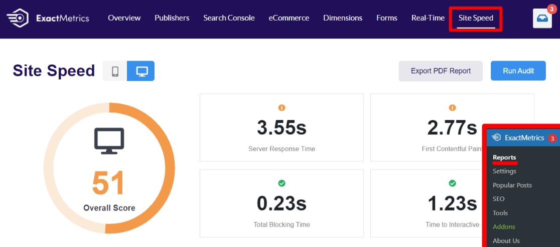 Site Speed Report in ExactMetrics