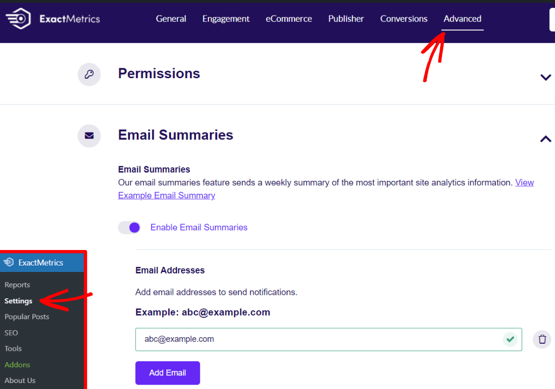 ExactMetrics Email Summaries